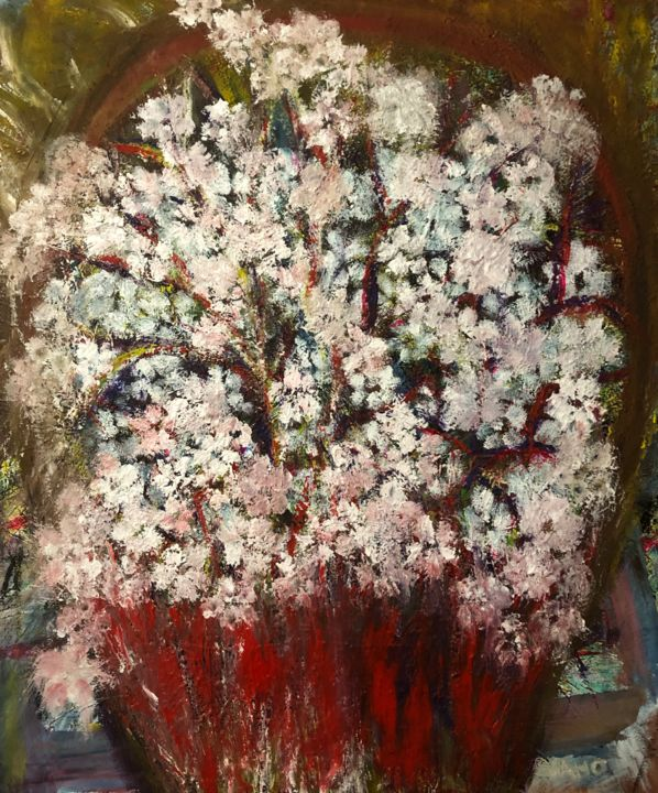 a basket of flowers - Painting,  60x50x1.5 cm ©2019 by SAHO -                                                                        Impressionism, Contemporary painting, Canvas, Flower, Flowers, Colors, Basket, white