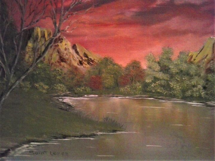 coucher de soleil. - Painting,  46x38x1 cm ©2018 by jean-yves saint lezer -                                                        Figurative Art, Canvas, Mountainscape