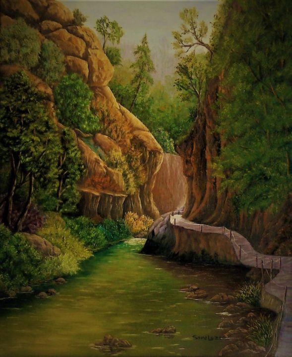 la riviere dans le canyon. - Painting,  61x50x1.8 cm ©2019 by jean-yves saint lezer -                                                        Figurative Art, Cotton, Mountainscape