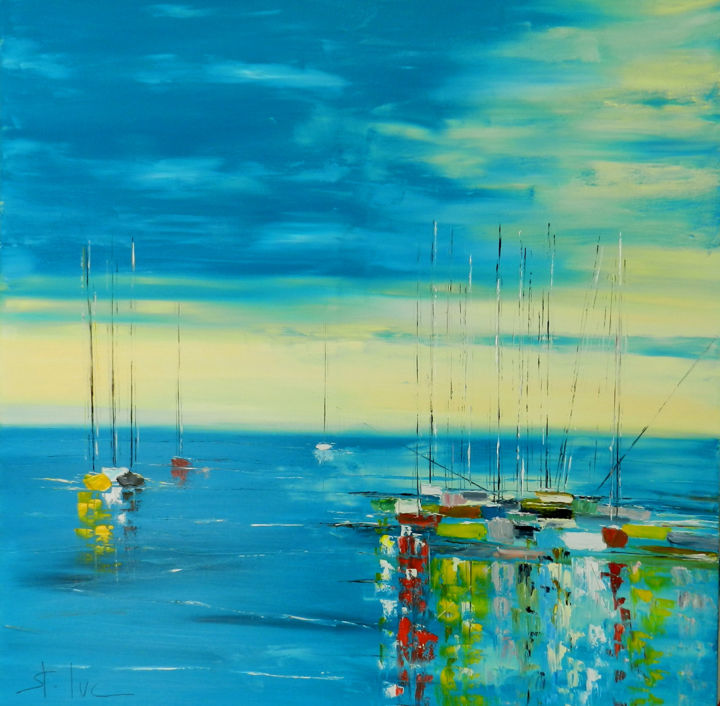 Rhapsodie Turquoise -2 - Painting,  100x100 cm ©2017 by Michel SAINT-LUC -                                                            Contemporary painting, Canvas, Seascape, luc, saint luc, saint-luc, arcachon, bassin d'arcachon, peintures du bassin d'arcachon, peintres du bassin d'arcachon, mer, ocean, sable, dune, bateaux