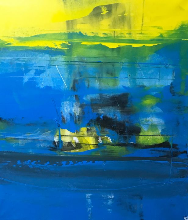 Opera-66.. immerso nel blu - Painting,  39.4x35.4x1.6 in, ©2019 by Alberto Saka -                                                                                                                                                                          Abstract, abstract-570, Abstract Art