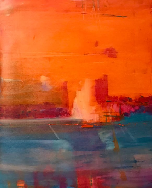 Tramonto - Painting,  35.4x29.5x0.8 in, ©2020 by Alberto Saka -