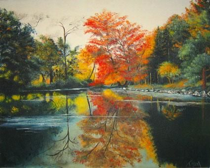 """Painting titled """"CAMPUS LAKE"""" by Thomas Peterson, Original Art, Oil"""