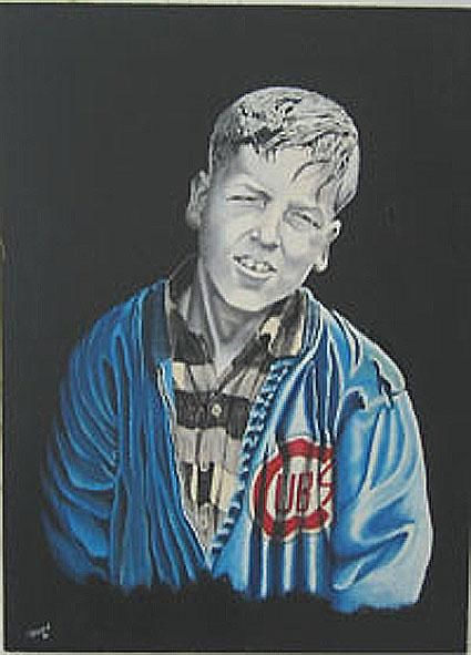 """Painting titled """"YOUNG CHICAGO CUB F…"""" by Thomas Peterson, Original Art, Oil"""