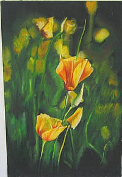 """Painting titled """"FLOWERS IN THE FIEL…"""" by Thomas Peterson, Original Art, Oil"""