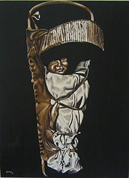 """Painting titled """"AMERICAN INDIAN BAB…"""" by Thomas Peterson, Original Art,"""