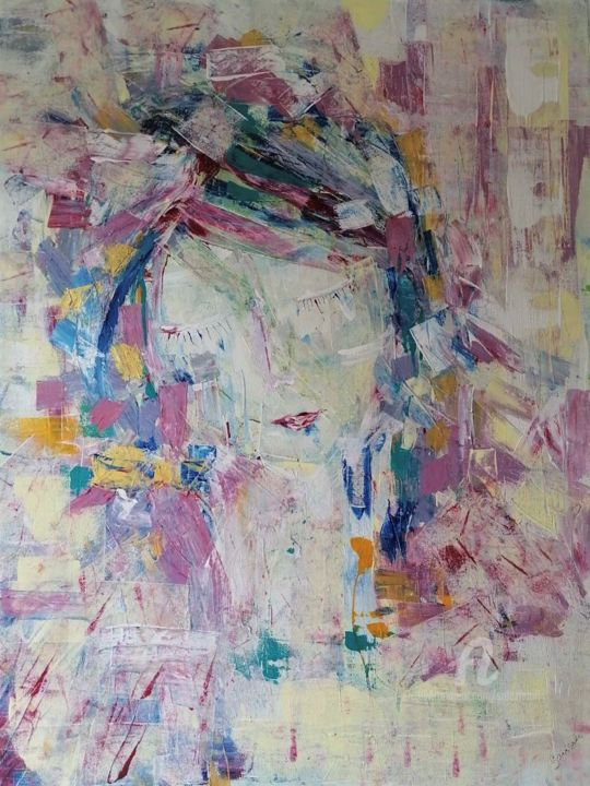"""Painting titled """"WOMAN IN LOVE"""" by Salaz, Original Art, Acrylic"""