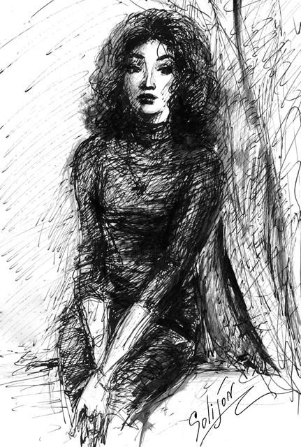Портрет - Drawing,  25x42 cm ©2003 by Salidjon Mamatkulov -