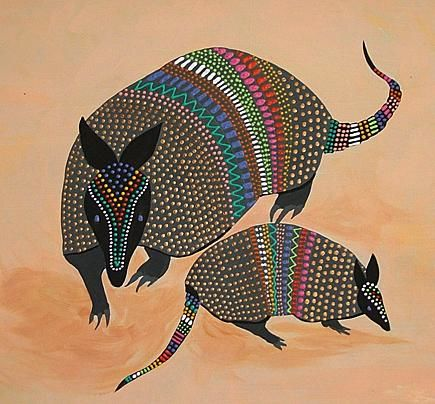 """Collages titled """"Armadillo Duo"""" by Sallymaria, Original Art,"""