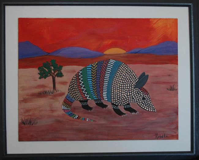"""Collages titled """"Sunset Armadillo"""" by Sallymaria, Original Art,"""