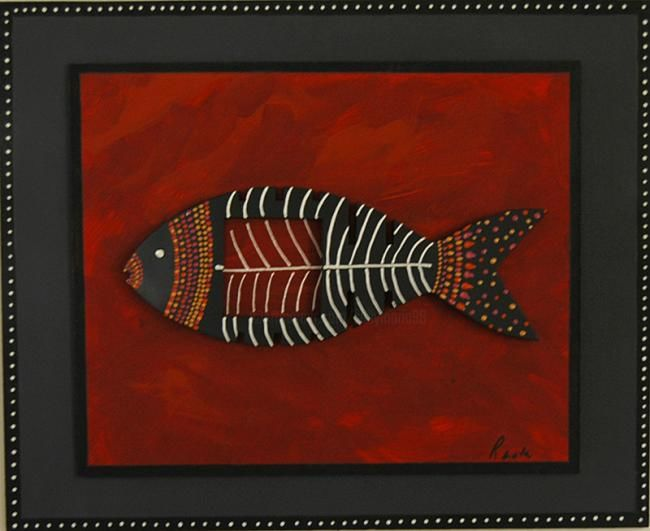 """Collages titled """"Solitary Fish"""" by Sallymaria, Original Art,"""