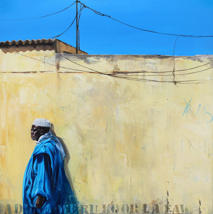 L'homme qui marche - Painting,  31.5x31.5 in ©2017 by Sonia Privat -