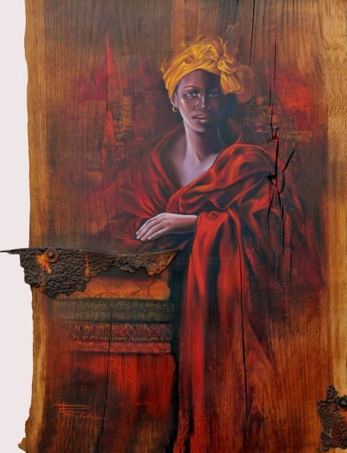 Nana Benz - Painting,  0.4 in, ©2009 by Sonia Privat -                                                                                                              World Culture, sonia privat; afrique;huile sur bois portraits