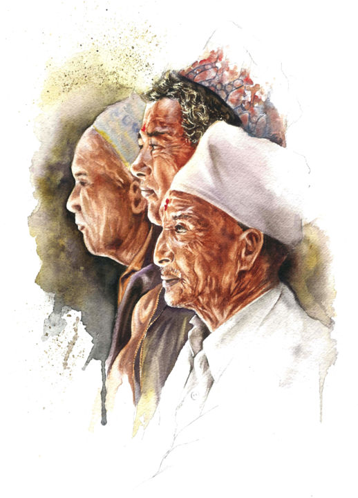 3 hommes à Bhaktapur - Painting ©2013 by Sonia Privat -                                        Figurative Art, Portraits