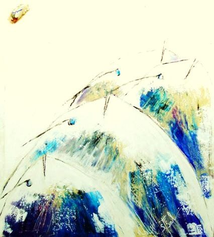 CRIS DES FONDS BLANCS - Painting,  95x82x4 cm ©2010 by Samir SALMI Artiste de la Mer -                                                            Abstract Art, Canvas, Animals, art samir