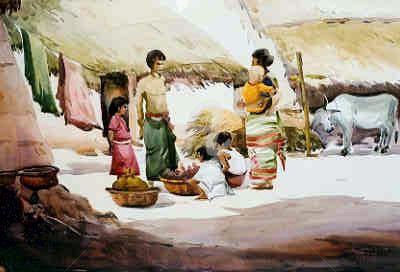 BENGAL VILLAGE SELLER Painting by Samiran Sarkar | Artmajeur