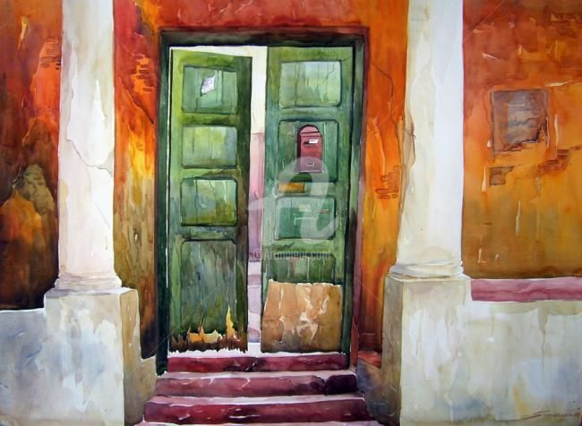 Old Door - Painting,  30x22 in ©2010 by Samiran Sarkar -                        Contemporary painting
