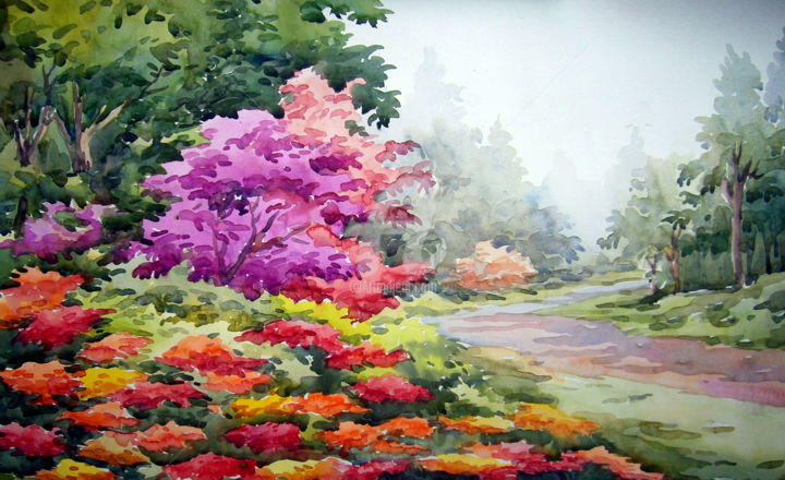 Beauty Of Flower Gardens Watercolor On Paper Samiran Sarkar