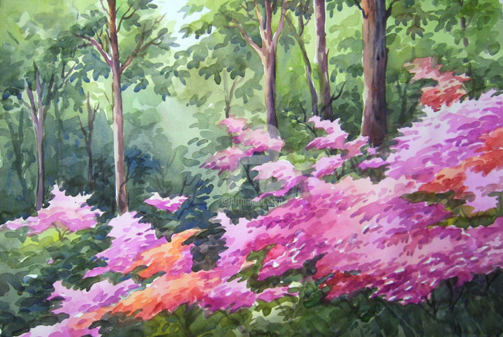 Beauty of flowers forest watercolor on paper samiran sarkar beauty of flowers forest watercolor on paper painting 11x22 in 2014 by izmirmasajfo Images