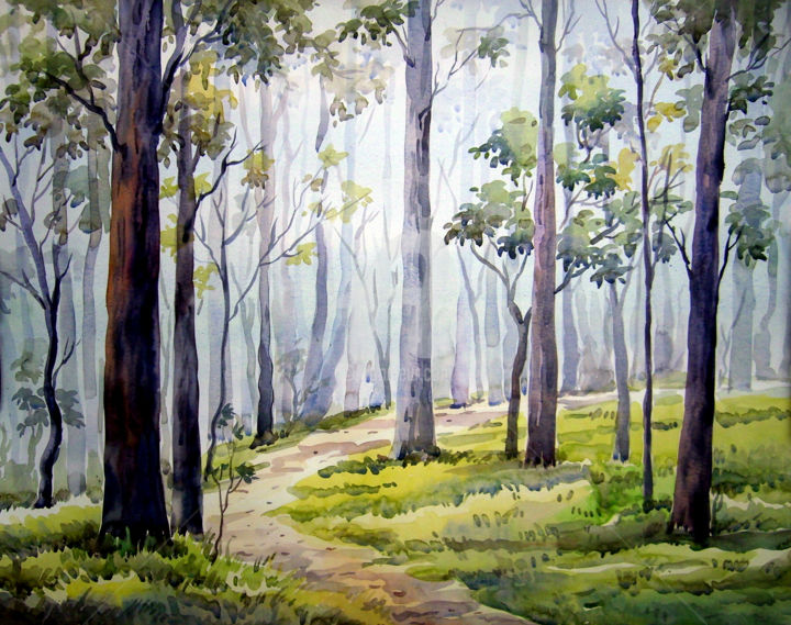 forest watercolor painting painting by samiran sarkar artmajeur eur