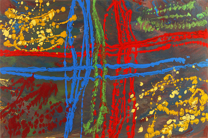 """Entangled Crossroads"" - Painting,  24x36 in, ©2015 by Sami -                                                                                                                                                                                                                                                                                                                                                                                                          Abstract, abstract-570, Abstract Art, red, blue, yellow, cream, green"