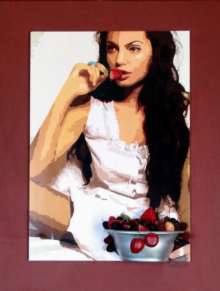 """Collages titled """"Angelina with Straw…"""" by Samitha Hess, Original Art, Other"""