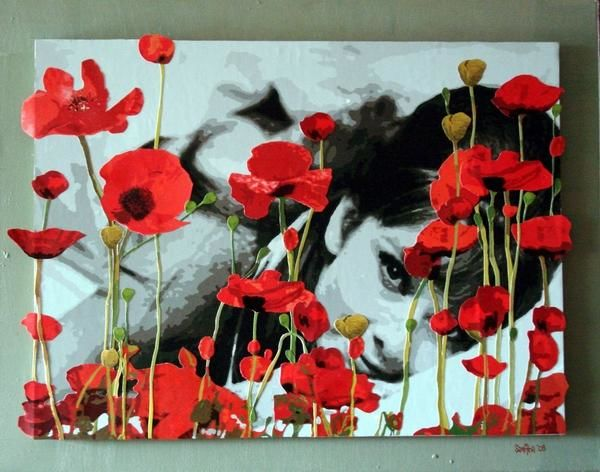"""Collages titled """"Audrey in Poppies"""" by Samitha Hess, Original Art,"""