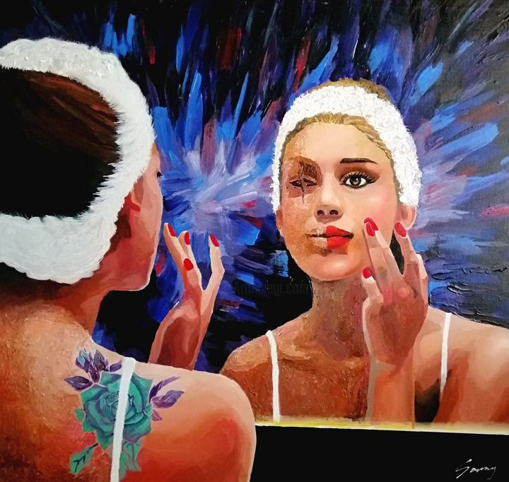 """Painting titled """"REAL & FAKE"""" by Sammy Cheng, Original Art, Acrylic"""