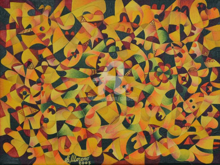 GENEROSITE - Painting,  11.8x15.8 in, ©2003 by Salvador  Moreno -                                                                                                                                                                          Abstract, abstract-570, Abstract Art