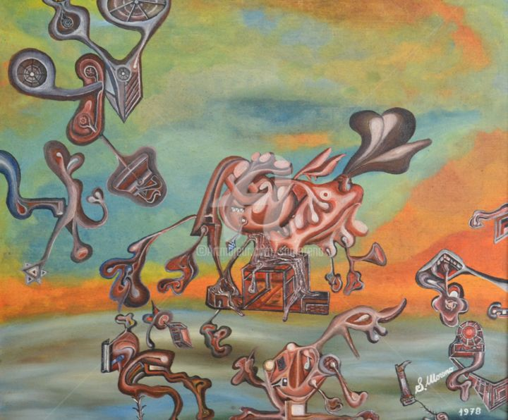 REVE FUTURISTE - Painting,  20.9x25.6 in, ©1978 by Salvador  Moreno -