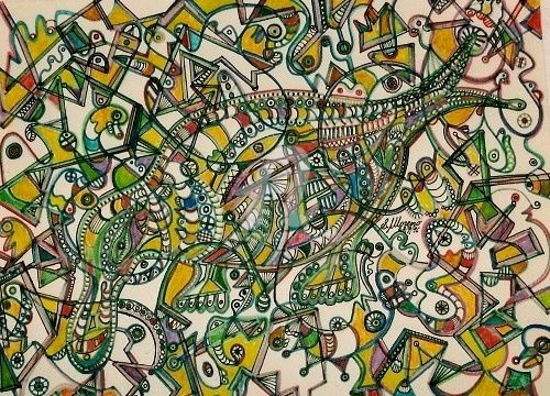 L'ORNITHORYNQUE - Drawing,  11.8x15.8 in, ©1996 by Salvador  Moreno -                                                                                                                                                                                                                          Abstract, abstract-570, Animals, expressionnisme abstrait