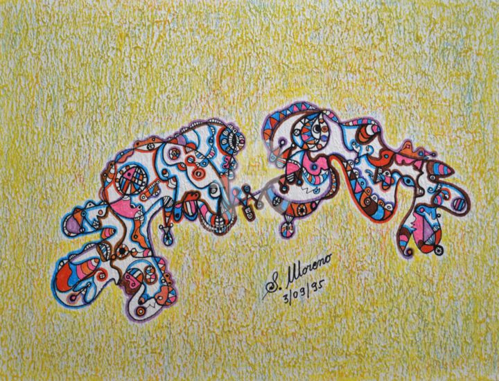 UN DESTIN COMMUN - Drawing,  11.8x15.8 in, ©1995 by Salvador  Moreno -                                                                                                                                                                                                                          Abstract, abstract-570, Abstract Art, expressionnisme abstrait