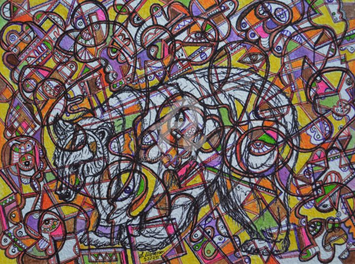 RESPECT DE LA NATURE - Drawing,  11.8x15.8 in, ©1995 by Salvador  Moreno -                                                                                                                                                                                                                          Abstract, abstract-570, Animals, expressionnisme abstrait