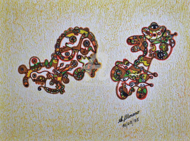 LA MEMOIRE COLLECTIVE - Drawing,  11.8x15.8 in, ©1995 by Salvador  Moreno -                                                                                                                                                                                                                          Abstract, abstract-570, artwork_cat.Colors, expressionnisme abstrait