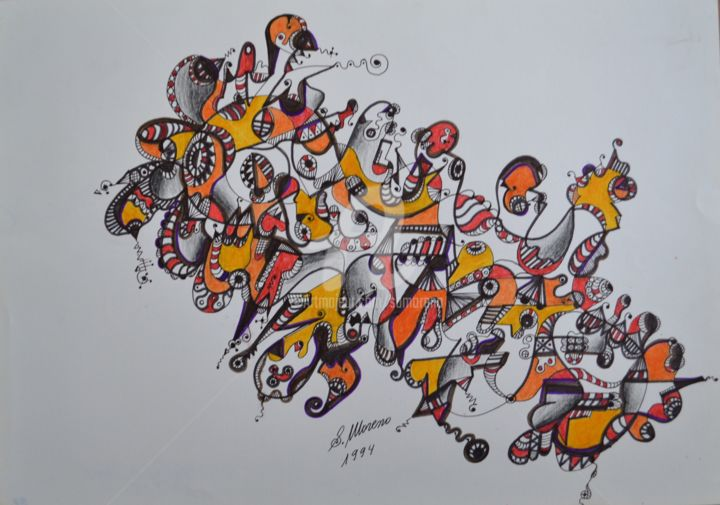 CENTRE D'IDEES - Drawing,  11.8x15.8 in, ©1994 by Salvador  Moreno -                                                                                                                                                                                                                          Abstract, abstract-570, Abstract Art, expressionnisme abstrait