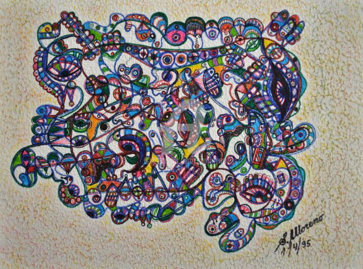 SAGESSE SPIRITUELLE - Drawing,  11.8x15.8 in, ©1995 by Salvador  Moreno -                                                                                                                                                                                                                          Abstract, abstract-570, Abstract Art, expressionnisme abstrait