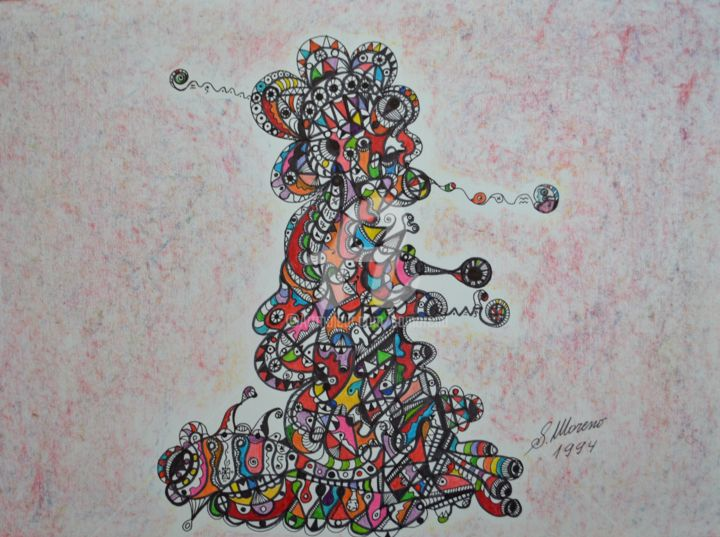 CELLULE FAMILIERE - Drawing,  11.8x15.8 in, ©1994 by Salvador  Moreno -                                                                                                                                                                                                                          Abstract, abstract-570, Abstract Art, expressionnisme abstrait