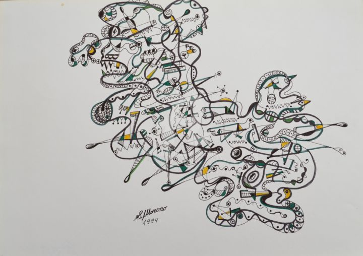 LE COURAGE DE VIVRE - Drawing,  11.8x15.8 in, ©1994 by Salvador  Moreno -                                                                                                                                                                                                                          Abstract, abstract-570, Abstract Art, expressionnisme abstrait