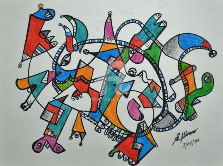 L'ECUREUIL - Drawing,  11.8x15.8 in, ©1996 by Salvador  Moreno -                                                                                                                                                                                                                          Abstract, abstract-570, Animals, expressionnisme abstrait