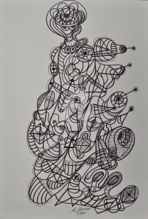 GUIDE SPIRITUEL - Dessin,  15,8x11,8 in, ©1994 par Salvador  Moreno -                                                                                                                                                                                                                          Abstract, abstract-570, Art abstrait, expressionnisme abstrait