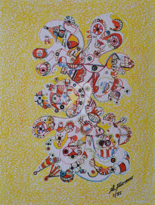 FANTOME - Drawing,  15.8x11.8 in, ©1995 by Salvador  Moreno -                                                                                                                                                                                                                          Abstract, abstract-570, Abstract Art, expressionnisme abstrait