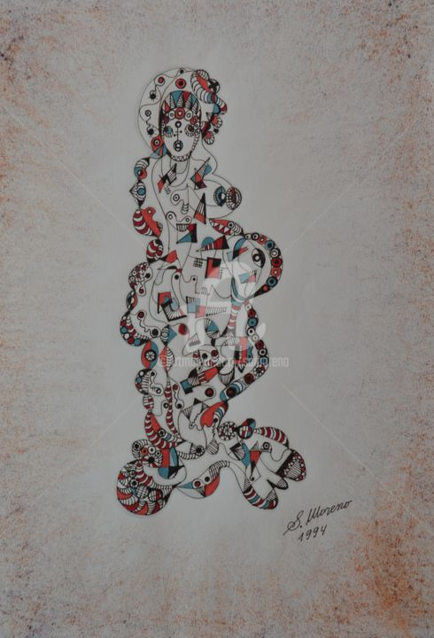LA POUPEE - Drawing,  40x30 cm ©1994 by Salvador  Moreno -                                            Abstract Expressionism, Abstract Art, expressionnisme abstrait