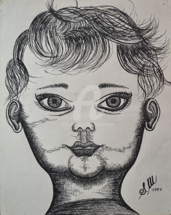 L'ENFANT - Drawing,  25x15 cm ©1984 by Salvador  Moreno -                                            Abstract Expressionism, Portraits, expressionnisme abstrait