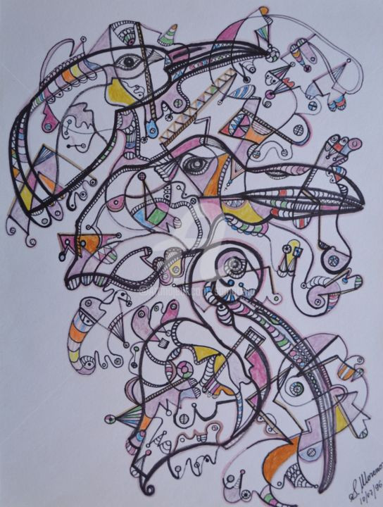 LES OISEAUX - Drawing,  40x30 cm ©1996 by Salvador  Moreno -                                            Abstract Expressionism, Birds, expressionnisme abstrait