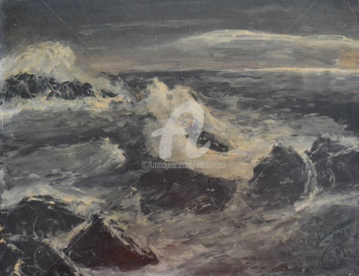 TEMPETE - Painting, ©1974 by Salvador  Moreno -