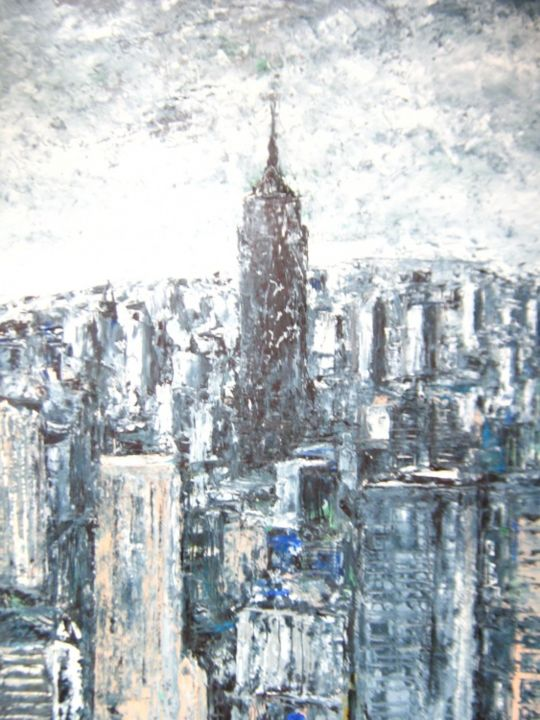 """Painting titled """"Empire State Buildi…"""" by Thomas Harutunyan, Original Art, Oil"""