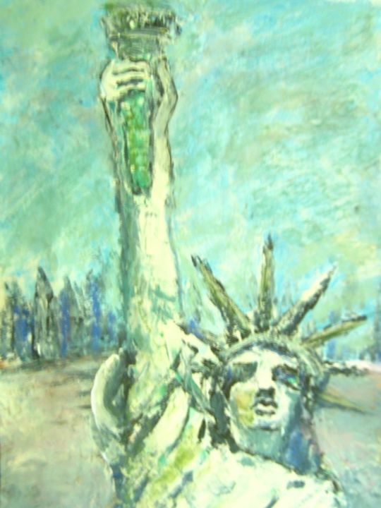 """Painting titled """"Welcome in America"""" by Thomas Harutunyan, Original Art, Oil"""