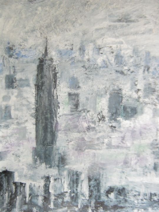 """Painting titled """"NY in Fog"""" by Thomas Harutunyan, Original Art, Oil"""