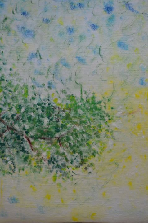 """Painting titled """"A Branch of Margosa"""" by Sea J, Original Art, Oil"""