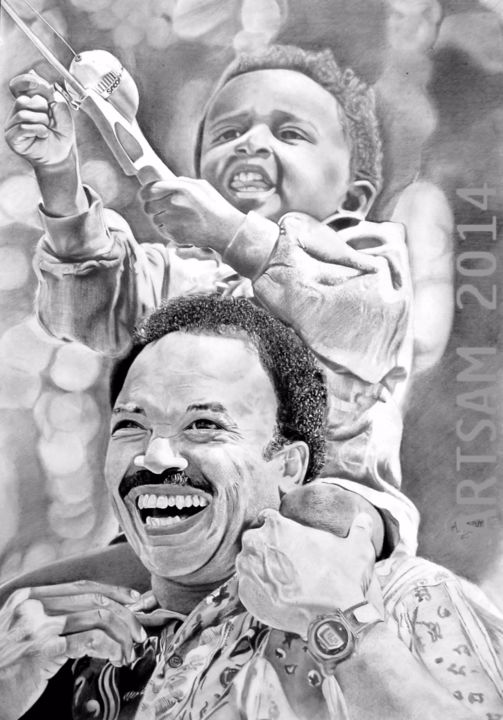 """Drawing titled """"Fun,fishing with Dad"""" by Artsam, Original Art, Charcoal"""